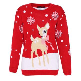 f342074b300ad Bambi au nœud papillon – Renne et Flocons de neige – Rouge