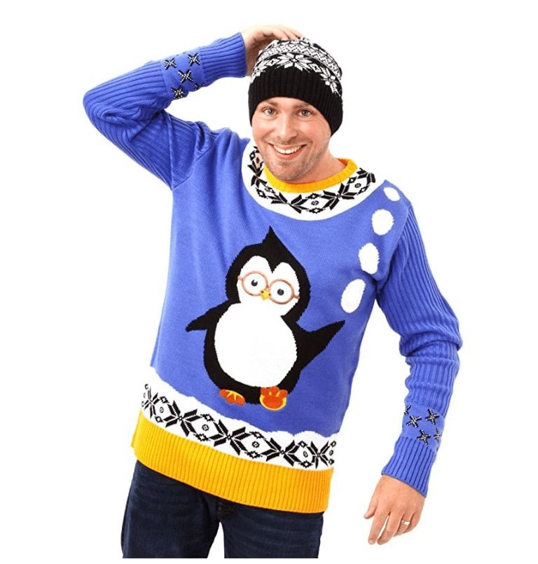 pingouin lunette boules de neiges pull kitsch de no l bleu. Black Bedroom Furniture Sets. Home Design Ideas