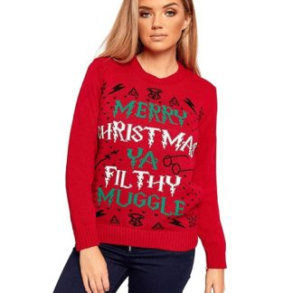 "Pull de noël pour femme harry potter - Écrit au centre ""Merry Christmas ya Filthy Muggle"""