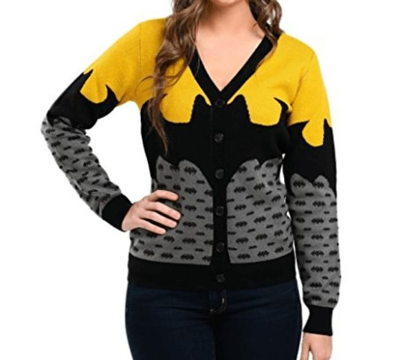 batgirl gros logo batman pull de no l officiel dc comics noir et jaune. Black Bedroom Furniture Sets. Home Design Ideas