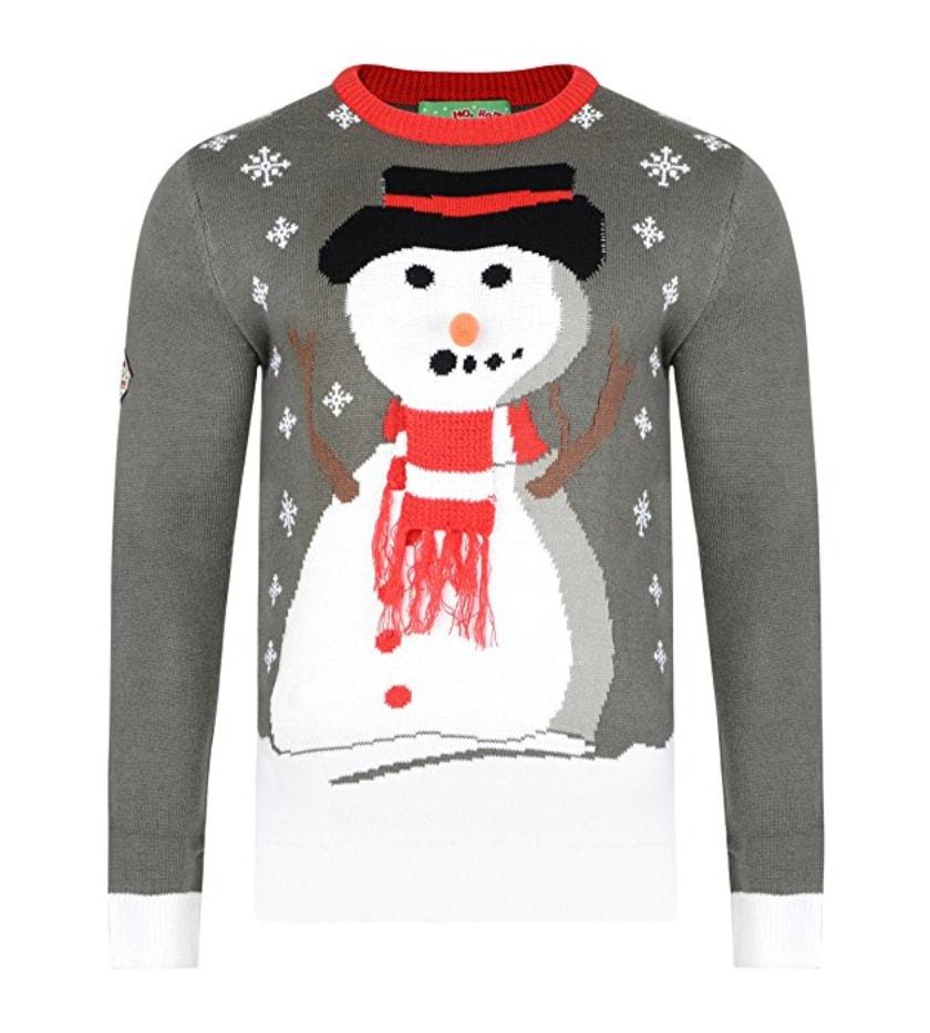 bonhomme de neige au sourire trange pull de no l kitsch flocons de neige gris et rose. Black Bedroom Furniture Sets. Home Design Ideas