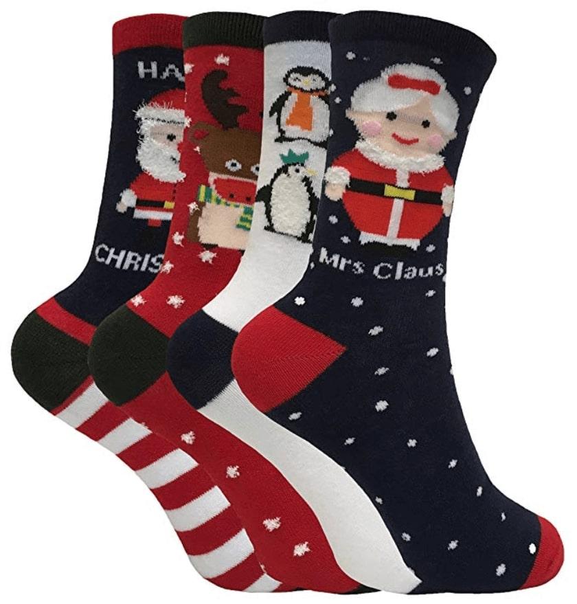 livraison gratuite 95b9a 1eccd M. & Mme Santa - Lot 4 Paires Chaussettes - Chaussette Noël ...