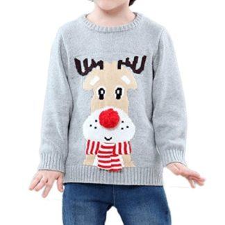 e5ebea335be89 Tout Pareil – Renne avec Pompon et Écharpe – Pull Noël Enfant