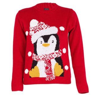 9491fcbf1a8f7 Au Chaud – Pingouin avec Bonnet   Écharpe – Pull de Noël Vintage