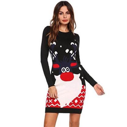commercialisable sélectionner pour plus récent vente chaude Renne Barbu - Bleu Marine - Robe Pull de Noël Femme